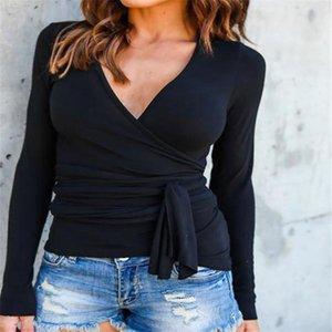Women's Blouses & Shirts Plus Size Blusas Femininas 2021 Autumn Women Casual Long Sleeve V Neck Solid Bandage Tops