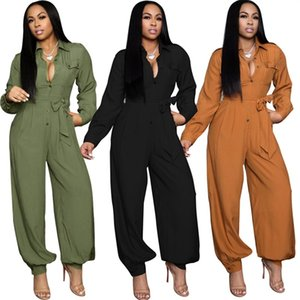 Women Jumpsuits Rompers fall winter clothing sexy club pure color botton bodysuits long sleeve loose full-length pants sportswear leggings running suits 01578