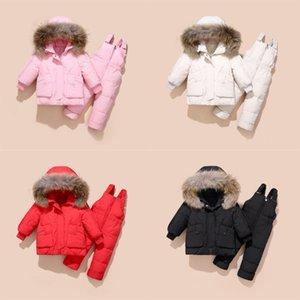 2020 Enfants d'hiver Enfants Filles et garçons Vêtements Ensembles Canard à capuchon chaud Débutant Down Down Veste Manteaux + Pantalons Snowsuit imperméable Enfants Vêtements bébé 690 x2