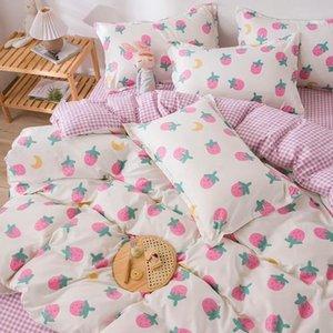 Conjuntos de cama Flores de morango Impresso Cama de roupa de linho Tampa de edredão Folha plana Rainha Single Size Têxtil