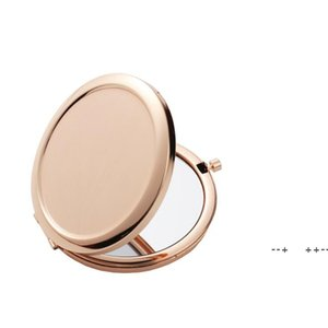 Sublimation Makeup Mirrors Iron 2 Face DIY Blank Plated 4 Colors Aluminum Sheet Girl Gift Cosmetic Compact Mirror Portable Decor GWA8701