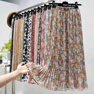Summer s Womens Vintage Floral Print Chiffon Pleated Elastic High Waist Casual Midi Skirt Women Clothes Jupe
