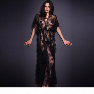 Sexy Sleepwear Lingerie Hot Gown Long Dress Black Sheer Lace Kaftan Robe with Thong Night Clubwear
