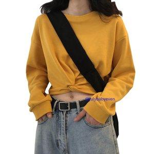 Cotton Women's Tops Black New Long Sleeve T-shirt Women's Short Knotted Design Top Women's Fashion Bottoming Shirt XXL