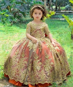 Cute Baby Toddler Kids Formal Wear Dress 2021 Lace Applique Half Sleeves Flower Girls' Dresses for Wedding Party with Bow Pageant Gowns