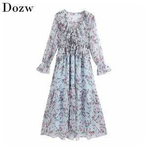 Women Elegant Floral Print Long Dress V Neck Ruffles Vintage Lady Transparent Butterfly Sleeve Fashion Pleated 210515