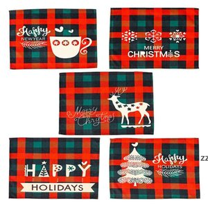 Christmas Plaid Placemats Red and Black Check Mats Tree Snowflake Place Mat for Winter Holiday Party Dinner Table Decoration HWA8837