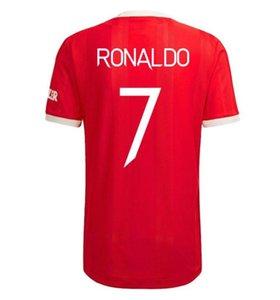 2021 2022 رونالدو 7 قميص كرة القدم الأعلى مانشستر الرجال لكرة القدم الفانيلة United Cavani UTD Van de Beek B. Fernandes Brashford لاعبين ومشجعين