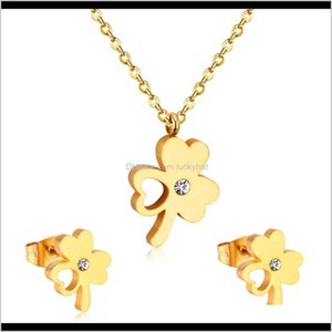 Bride Cz Sets Flower With Heart Style Stainless Steel Set Women Wedding U9Isr Earrings Necklace Olsrl