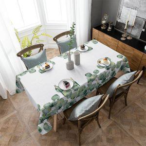 Table Cloth Tropical Plants Eucalyptus Leaves Tablecloth Rectangular Christmas Dinning Decor Cover Waterproof