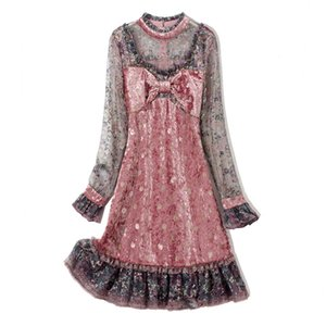 Vestidos de la pista de las mujeres O cuello Mangas largas Arco Detalle Detalles de cuentas Velvet Patchwork Vestidos