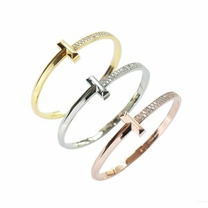 Fashion Simple Titanium Stainless Steel Link Chain Unisex Double T-shaped Semi-gloss-diamond Snap Bracelet with Copper Micro-inlaid & Gold-plated Jewelry Gifts([Box)