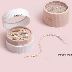 Mini Double Layer Flannel Jewelry Storage Boxes Round Protable Jewelries Package Holder for Ring Earring Bracelet Necklace EWA4854