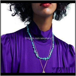 & Pendants Jewelry Drop Delivery 2021 Bohemian Style Handmade Multi Layer Chain Necklaces For Women Ethnic Irregular Blue Turquiose Shell Pen