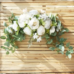 Artificial wreath door threshold flower garland DIY wedding home living room party pendant wall decor Christmas rose flower swag