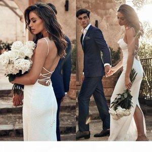 Summer Beach Boho Mermaid Wedding Dresses Bohemian Lace Appliques Long Custom Made Spaghetti Back Split Train Bridal Gowns