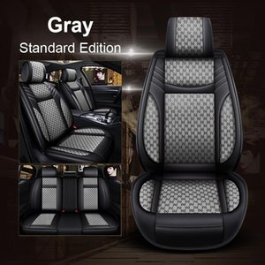 5-Seat Car PU Leather Linen Front Seat Covers Rear Fashion Style Auto Interior For KIA OPTIMA Rio5 Spectra5 FORTE SOUL