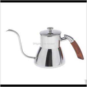 Teapots 800Ml Stainless Steel Gooseneck Drip Kettle For Making Tea Pour Over Coffee Gsy7F Vgsvn