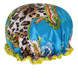 Wide Brimmed Shower Caps Bath Hat Waterproof Double Layers Satin Fabric Hair Bonnets Round Fitted Hats Head Wrap Bathroom Products GWE5891
