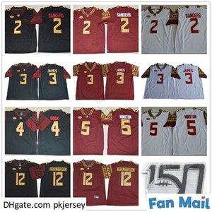 NCAA FSU Florida Estado Seminoles 2 Deion Sanders 3 Derwin James 4 Dalvin Cook 5 Jameis Winston 12 Akers Hornibrook 150th Football Jerseys