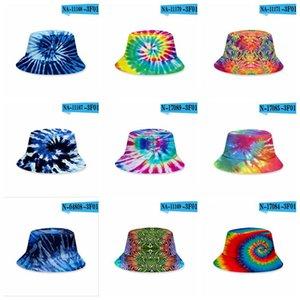 Tie-Dye Bucket Hats Summer Caps Unisex Visor Flat Top Sunhat Fashion Outdoor Hip Hop Cap Kids Beach Sun Hat 3D Printing 38 Colors GYL132