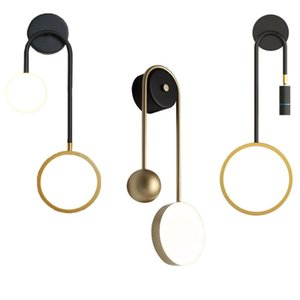 Nordic Design Настенный светильник Регулируемый прожектор Современные прикроватные фонари Золотая лампа Железное искусство в помещении Браус