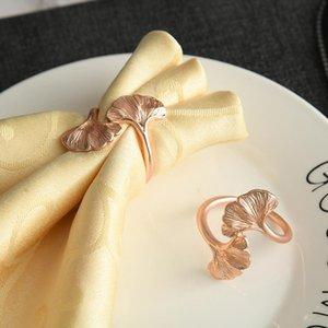 10 teile / metall Rose Gold Aprikosenblatt Serviette Ring Tischplatte Dekoration Halter Für westliche Hochzeit Bankette usw. Ringe