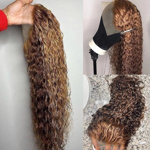 Curly Brown Ombre 13x6 transparent Lace Front Human Hair Wigs Brazillian Highlight Full Laces Pre Plucked With Baby Hairs 360 Frontal 13x4 hairline