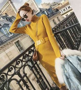 Sweater Dress Women's Mid-length Knitted Dress Slim Bottoming Sweater Wrap Arm Skirt Autumn and Winter New Design