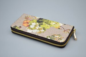 2021 Designer Ladies Geranium Print Long Zip Wallet Fashion long. wallets