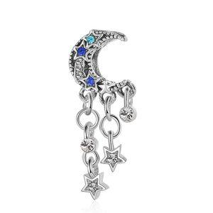 20pcs Silver Charm Bead Moon & Stars Crystal Dangle Charms European Beads Fit Pandora 925 Sterling Silver Bracelet Charms Jewelry DIY Making Women