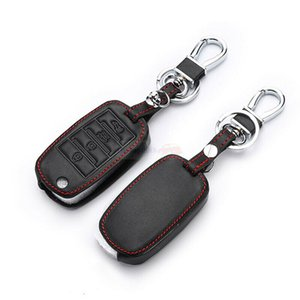 Fit For KIA K3 4 Buttons Flip PU Leather Remote Key Fob Bag Holder Cover Case