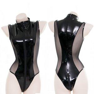 Sexy Lingerie Anime Underwear Babydoll Latex Pu couro Voile Zipper Corpo Crotchless Encaje Bodysuit Lingerie Teddy Swimsuit