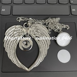 Noosa Chunks Angel Wing Pendant Lover Charms Necklace DIY Jewelry with 18MM Snap Buttons and Sublimation Aluminum Sheet