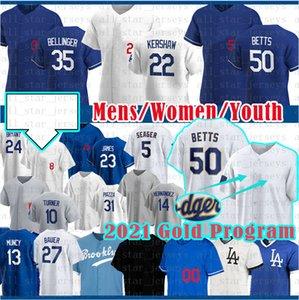 50 Mookie Betts Béisbol Jersey Clayton Kershaw 5 Cody Bellinger Trevor Bauer Justin Turner Julio Urias Corey Seaver Enrique Hernández Muncy