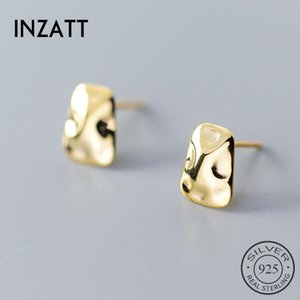 INZAReal 925 Sterling Silver Irregular Geometric Glossy Stud Earrings For Charming Women Party Fine Jewelry Gold Color Gift