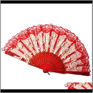 Drinkware Handle Rose Flower 10 Colors Spanish Lace Folding Hand Held Dancing Party Fan 50Pcs Ooa70411 Sksqu Xgsfe