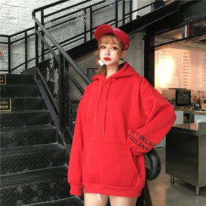 Women Hoodies Sweatshirts Plus Velvet Embroidery Long Sleeved Thick Casual Solid Casual Hooded Hoodie Casual Loose Tops