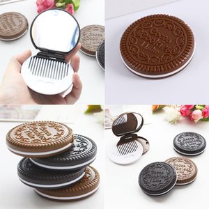 Mirrors Mini Pocket Chocolate Cookie Biscuits Compact Mirror With Comb Cute Deep Coffee Color Round Shape Lifelike Sandwich Biscuit