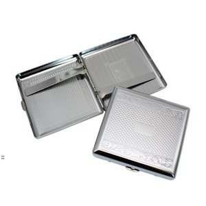Metal Cigarette Case Embossed Cigarettes Box Stainless Steel 95*87MM 20pcs Regular Boxes Tobacco Holder BWA7395