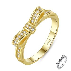 Cluster Rings ZEMIOR Silver 925 For Women Kpop Style Bow-Knot Ring Female 5A Cubic Zirconia Wedding Fine Jewelry Gift Girlfriend