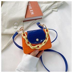 Girls Designer Luxury Macaron Handbags Patchwork Color Kids Chain PVC One Shoulder Jelly Bags Fashion Children Candy Colors Mini Bag 1340 B3