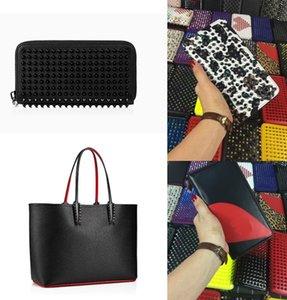 Lujos Bolso + Carteras Hombres Mujeres Bolsas Hombreras Remaches de cuero genuino Picos Crossbody Tote Color Rojo Fondos de color Bolsos de compras