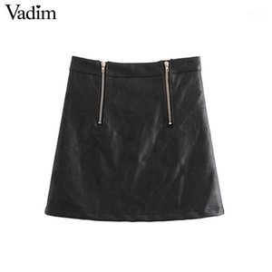 Vadim women basic PU leather black skirts faldas zipper design solid European style fashion streetwear mini skirts BA1021