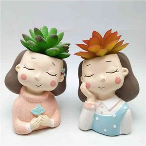 girl concrete flower pot silicone mold baking mold chocolate resin candle mold 210408
