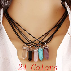 Necklace fashion Jewelry Cheap Healing Crystals Amethyst Rose Quartz Bead Chakra Women Men Natural Stone Pendants Leather Necklaces crucifix