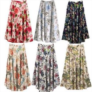 Falda de lino para mujer Floor Long Bohemian Print Flower