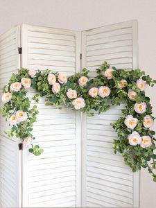 Decorative Flowers & Wreaths White Artificial Silk Fake Garland Peony Eucalyptus Plants Vine Hanging For Wedding Home Party Garden Craft Arc