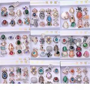 Personality, European and American style, fashion, big stones, complicated diamond-encrusted opal, foreign trade rings mixed batch