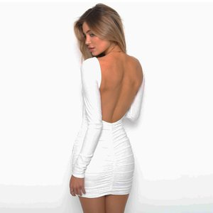 2021101116 Backless Wrap Bodycon Low Cut Sexy Club Dress Women White Black Long Sleeve Mini Party Dress